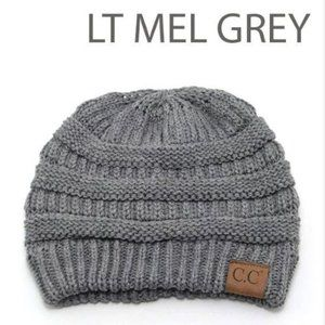 C.C Knit Beanie –Light Melange Grey